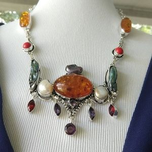 Amber pearl coral stamped 925 necklace